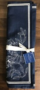 """Pottery Barn Hanukkah Celebration Runner Blue with White Embroidery 18""""x108"""" NWT"""