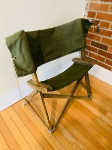 Vintage Roll-Out Wooden Camping Folding Canvas Camp Chair MCM VTG