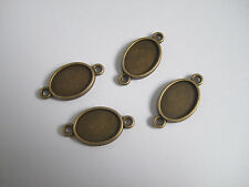 20 Antique Bronze 10x14mm Oval Cabochon Settings Pendant Trays Blanks Connector