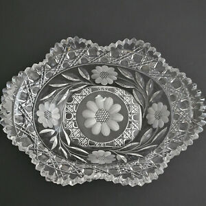 ABP L E Smith Cut Glass Crystal oval Daisy Buttons Bowl FREE SHIPPING