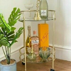 Tromso Drinks Trolley Gold Stylish Finish Glass Shelves Tea Coffee Serving Drink