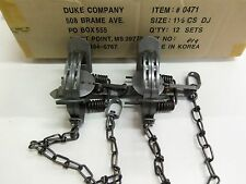 2 Duke # 1 1/2 Double Jaw Coil Spring Trap 0471 Raccoon Mink Nutria Trapping