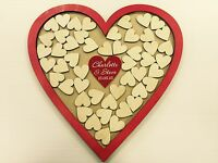 Personalised red wedding heart shaped guest book drop box wooden 56 hearts