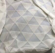"Burnout Silk VELVET Fabric WHITE TRIANGLES fat 1/4 18""x22"" remnant"