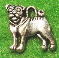 10Pcs. Tibetan Silver 2-Sided PUG DOG Charms Pendants Earring Drops Finding D26