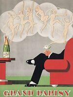 ADVERTISEMENT FOOD DRINK CHAMPAGNE GRAND PARISY KITCHEN ART POSTER PRINT LV370