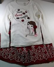 Mini Boden Red Snowflake Christmas Skirt 5-6/Gymboree Sweet Treats Top Outfit G2