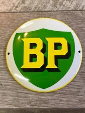 """BP MOTOR OIL AND GASOLINE PORCELAIN 6"""" GAS Pump / Lubester Sign. DOMED BUTTON"""