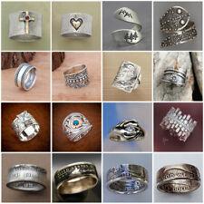 Women Men Vintage 925 Silver Retro Ring Gothic Punk Finger Band Jewelry Sz 6-10