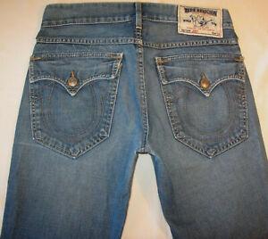True Religion Joey Bootcut Jeans Men Sz 30 X 27 Flap Pocs 100% Cotton Distressed