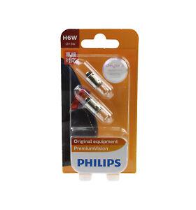 Genuine PHILIPS Premium Vision Parking Light Globe H6W 12V 6W - Pair (2 Pack)