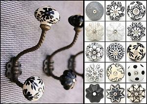 Vintage iron hooks coat hooks with ceramic knobs