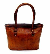 "17"" Women Vintage Looking Genuine Brown Leather Tote Shoulder Bag Handmade Purse"