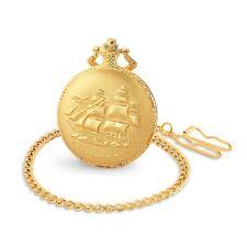 Edle Taschenuhr Stahl Gold Schiff Segelschiff Meer Matrose Regatta Uhr mit Kette