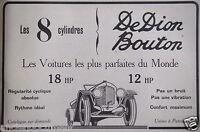 PUBLICITÉ 1919 DEDION BOUTON LES 8 CYLINDRES 18HHP ET 12 HP - ADVERTISING
