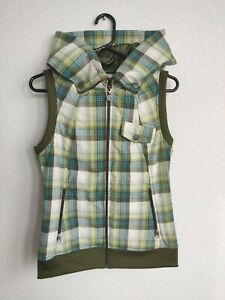 Women's BURTON Starr PLAID Winter VEST Snowboard HOOD Blue GREEN Zip MEDIUM NWOT