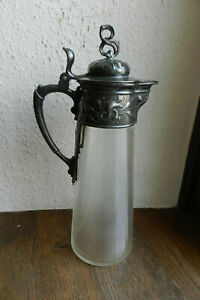 WMF Jugendstil Zinn Glas Karaffe um 1900