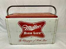 Rare Vintage Cronstroms Miller High Life Beer Picnic Cooler Sign Bottle Camping