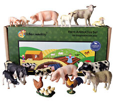Farm Animal Plastic Toy Figures boxed set of 15 from UK importer - Solid Plastic