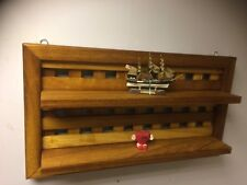 Solid Wood Iroko  Like Oak Teak Wall Shelf With Frame Handmade Offcuts