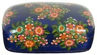 Vintage Hand Painted Blue Floral Asian Lacquered Keepsake Trinket Box 7""