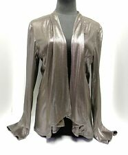 NWT Chico's Jacket Open Front Swingy Cascade Shiny Bronzed Unlined Lightweight 1