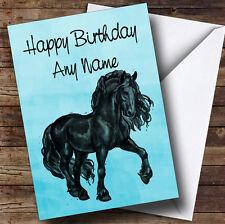 BLUE Acquerello Friesian CAVALLO Personalizzato Compleanno carta