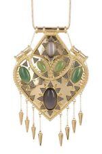 House of Harlow 1960 Montezuma Spiked Fringe Aventurine Pendant Choker Necklace