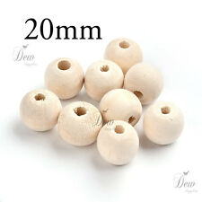 40 x 20mm wood beads natural wooden ball unpainted round jewellery findings