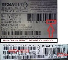 Renault Radio Stereo Unlock Code Pin Megane Clio Modus All Models