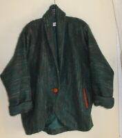 Jessica Grey M L Lagenlook Vtg 80s 90s ArtMohair Teal Cocoon Boxy Jacket coat