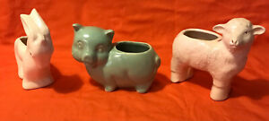 Vintage Animal Pottery Planters - Donkey, Pig and a Lamb