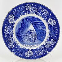 Vtg Old English Staffordshire Ware Blue Pipe Organ Howe Caverns NY 1842 Plate