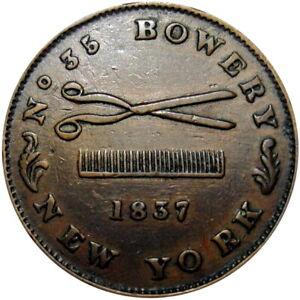 1837 New York City Hard Times Token Phalons Hair Cutting Scissors Comb HT-304