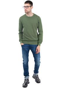 RRP €125 HISTORIC Jumper Size XL Garment Dye Textured Thin Long Sleeve Crew Neck