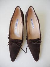 Manolo Blahnik (Sz.41) NEW $545 Truffle-Brown Suede Kitten Heels Pumps Shoes