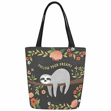 InterestPrint Cute Sloth with Inspirational Quote Canvas Tote Bag Shoulder for