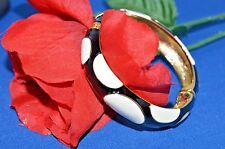 Kenneth Jay Lane BLACK AND WHITE DOT GOLD  Bracelet Signed KJL ships 48 HRS