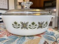 Vintage Anchor Hocking Meadow Green Flowers 437 1½ QT Casserole Dish & Pyrex LID