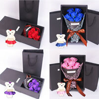 Artificial Soap Rose Flower 1 Bouquet Bear Mothers Day Birthday Wedding Gift