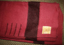 "VINTAGE Cranberry Pink Hudson Bay 4 Point Wool Blanket England 66"" x 88"""