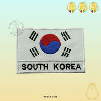 South Korea National Flag With Name Embroidered Iron On Sew On Patch Badge