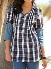 Tunika Gr. 36 Damen Bluse Hemd Doppeloptik kariert 100% Baumwolle