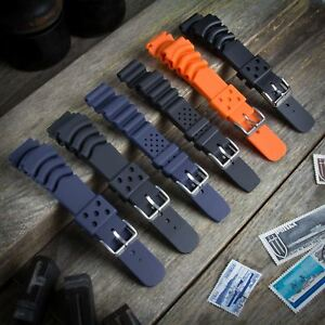 ZULUDIVER PU PVC Rubber Dive Watch Strap for SEIKO / CITIZEN 20 22mm