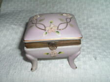 VINTAGE ESTATE PINK BISQUE FLORAL PORCELAIN RING AND JEWELRY BOX W BRASS TRIM