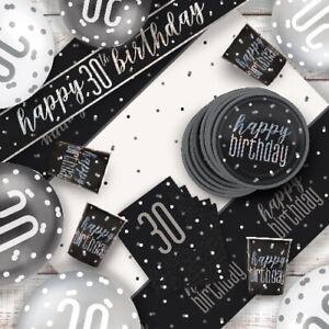 Black Glitz 30th Birthday Party Supplies Decorations (Confetti Strings Napkins)