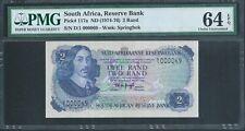 South Africa 2 Rand P117a ND (1974-76) PMG 64 EPQ 1st Prefix D/1 low No.69