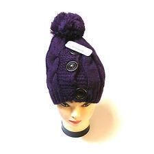 Donna spesso viola maglia Berretto Cappello con 3 bottoni e con pon pon - NUOVO
