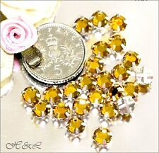 30 Swarovski Ss12 Gold Topaz Vintage Rose MONTEES Sew on Crystals SS Plate 12ss