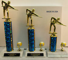 POOL TROPHIES 9 BALL TOURNAMENT 1st,2nd,3rd  FREE ENGRAVING SHIPS 2 DAY MAIL